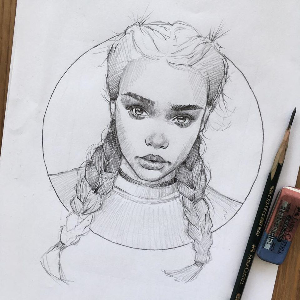 pencil drawing braid girl