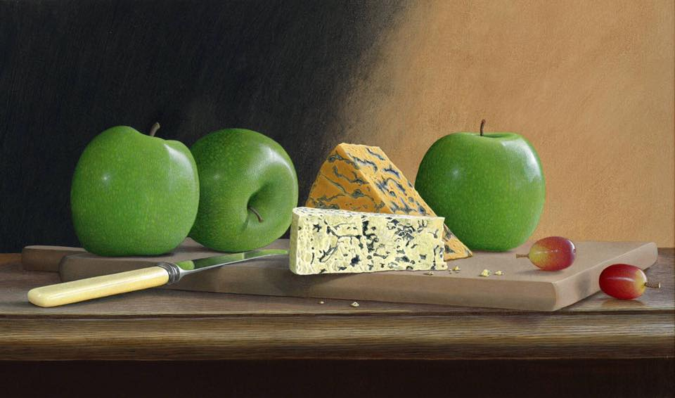 acrylic still life painting cheese by tim gustard