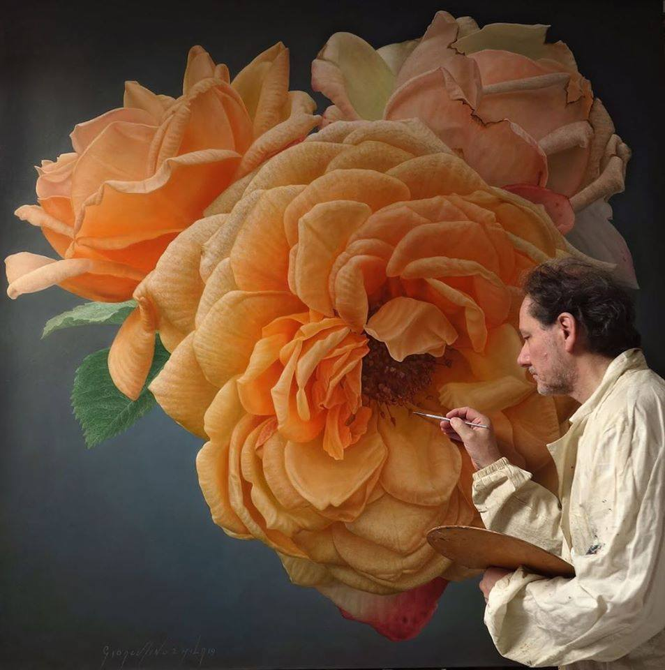 oil painting peach rose by gioacchino passini