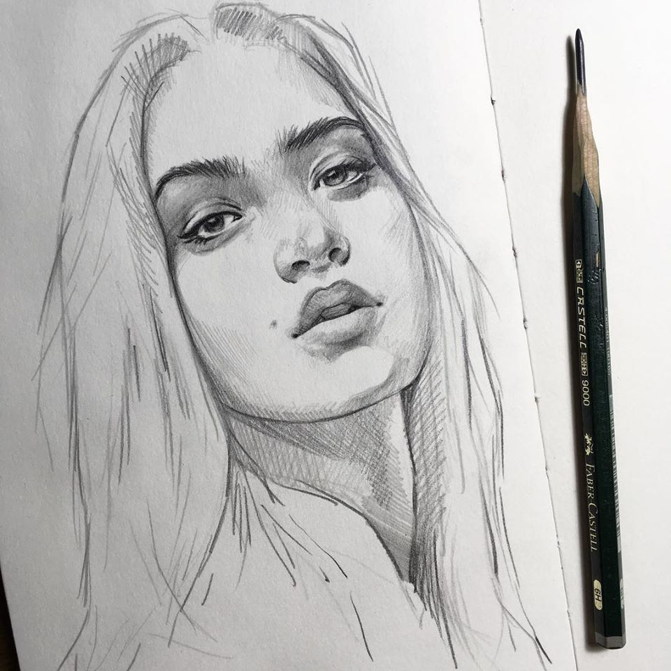 pencil drawing beautiful girl