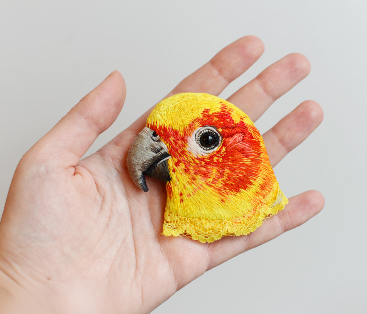 embroidery art love bird by paulina bartnik