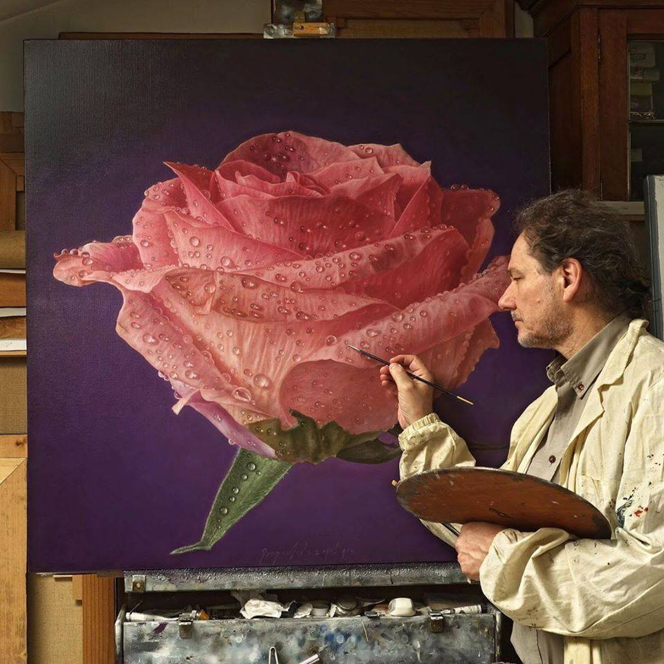 oil painting pink rose by gioacchino passini