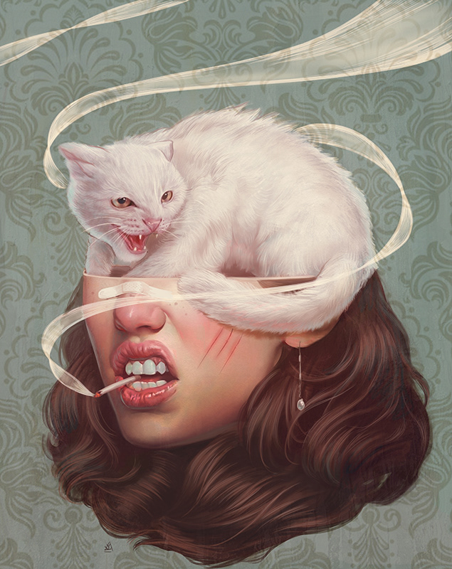 surreal artworks cat face