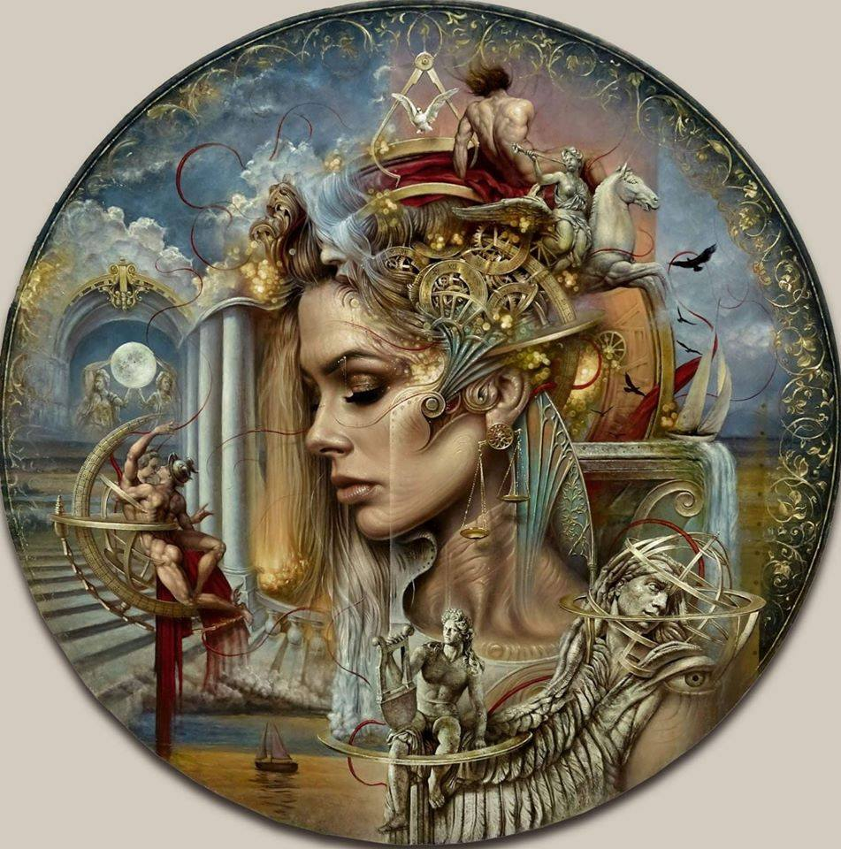 surreal oil painting lady