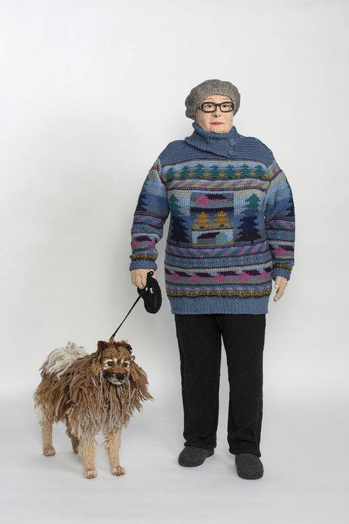 crochet sculpture lady dog