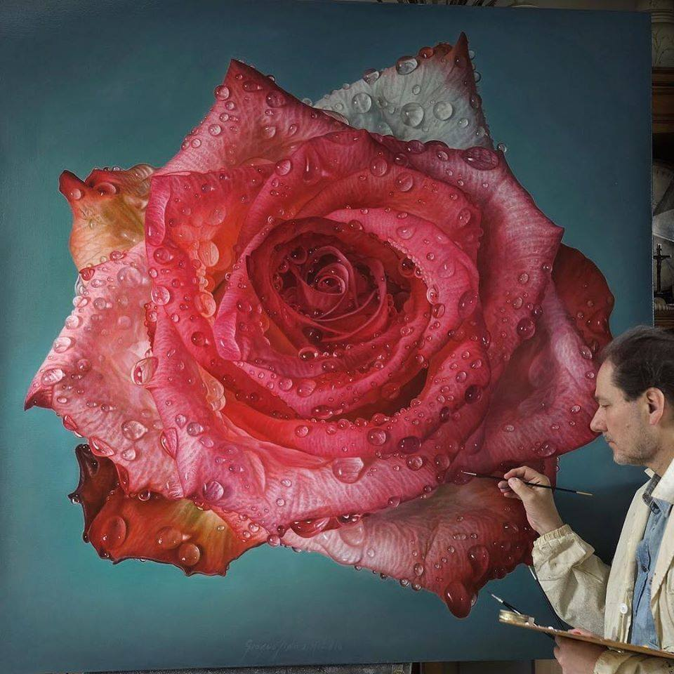 oil painting pink white rose by gioacchino passini
