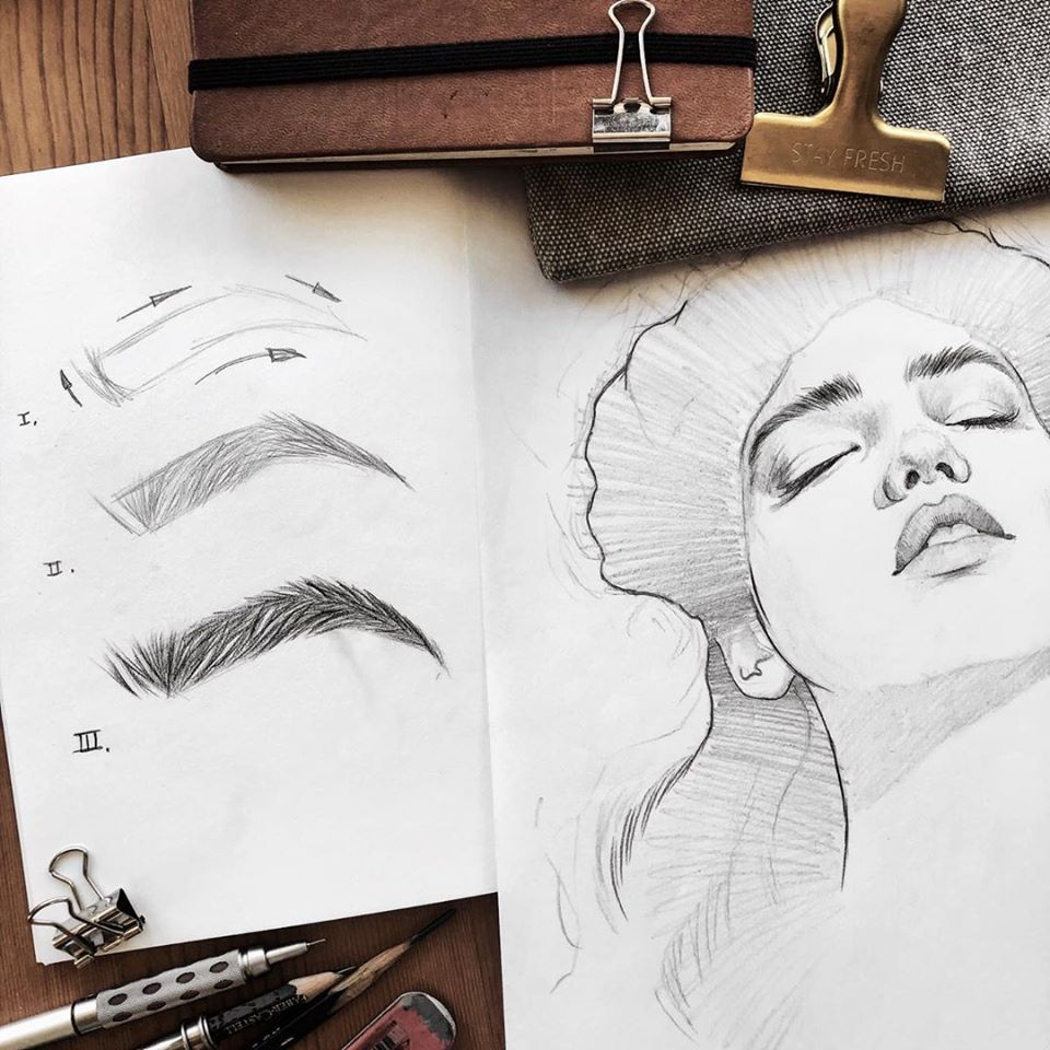 pencil drawing eyebrow