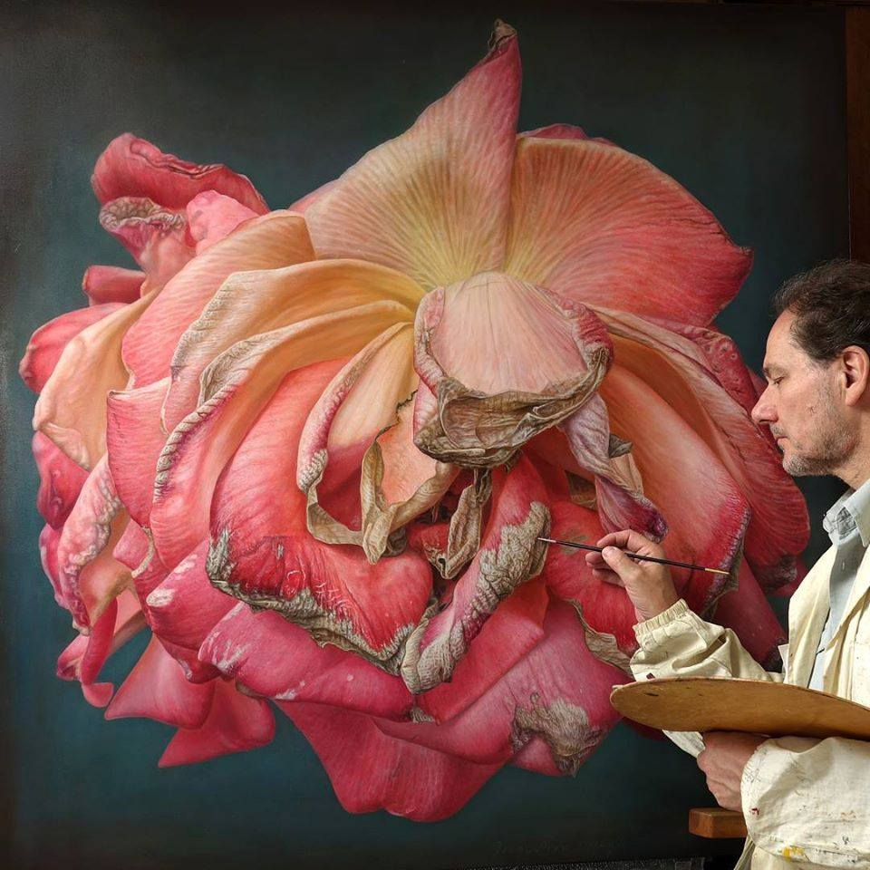 oil painting dry pink rose by gioacchino passini