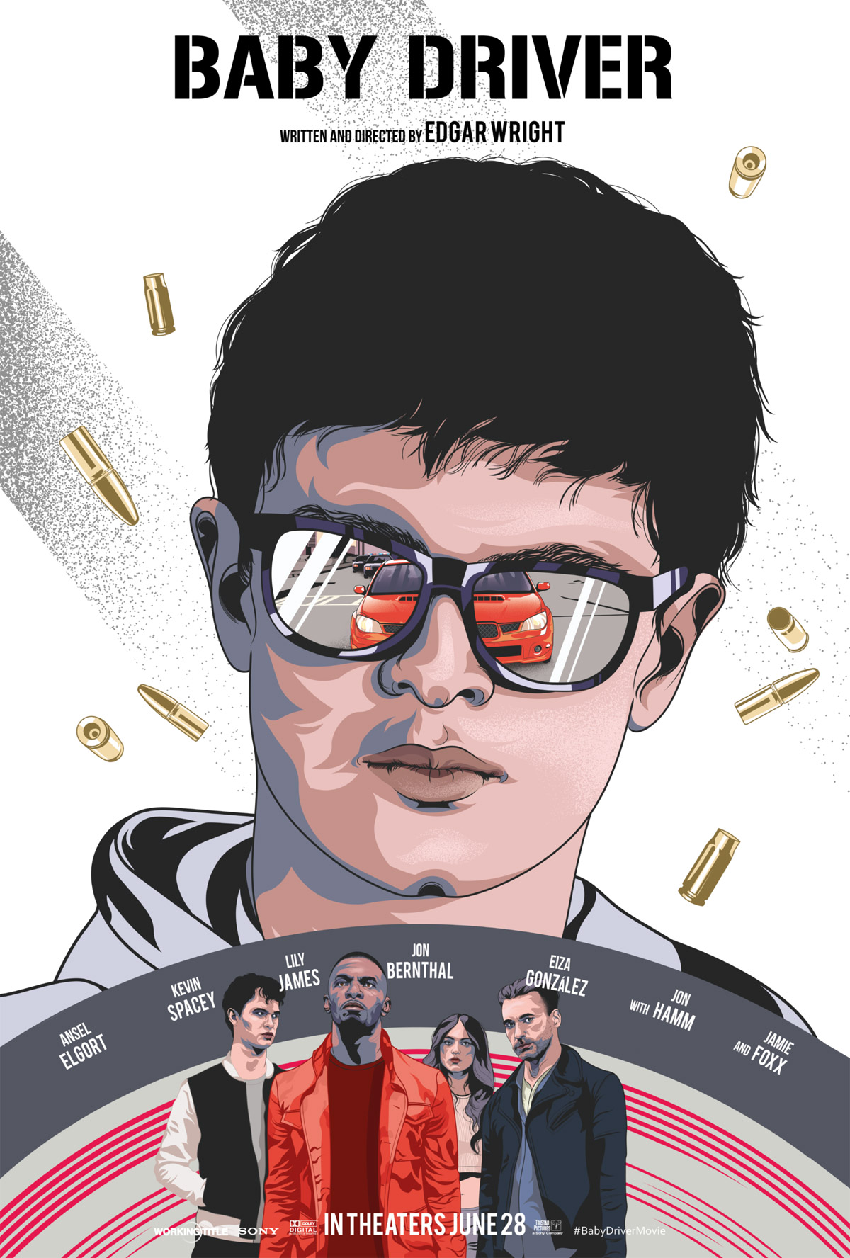 illustrated movie poster design baby driver