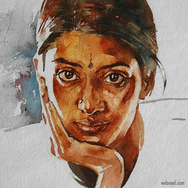 watercolor painting woman portrait by rajkumar sthabathy