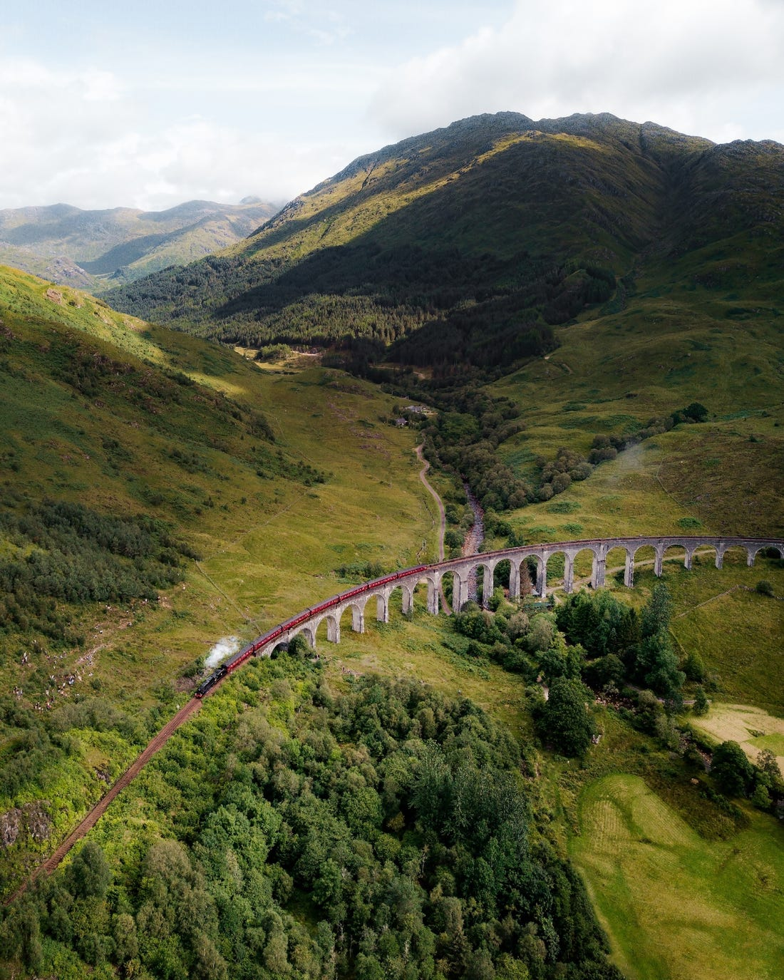 award winning aerial photography train by glenfinnan