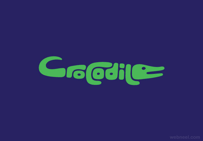 crocodile typography design