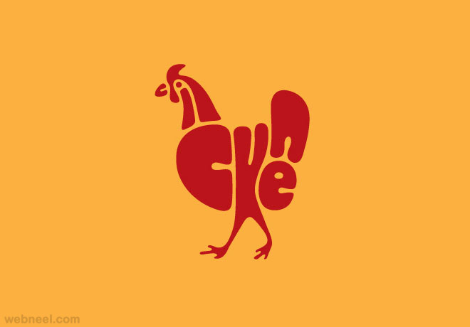 chicken typography design