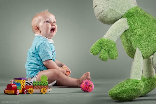 scared baby photography