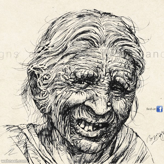 old lady drawing