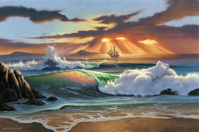 sea realistic oil painting by jim warren