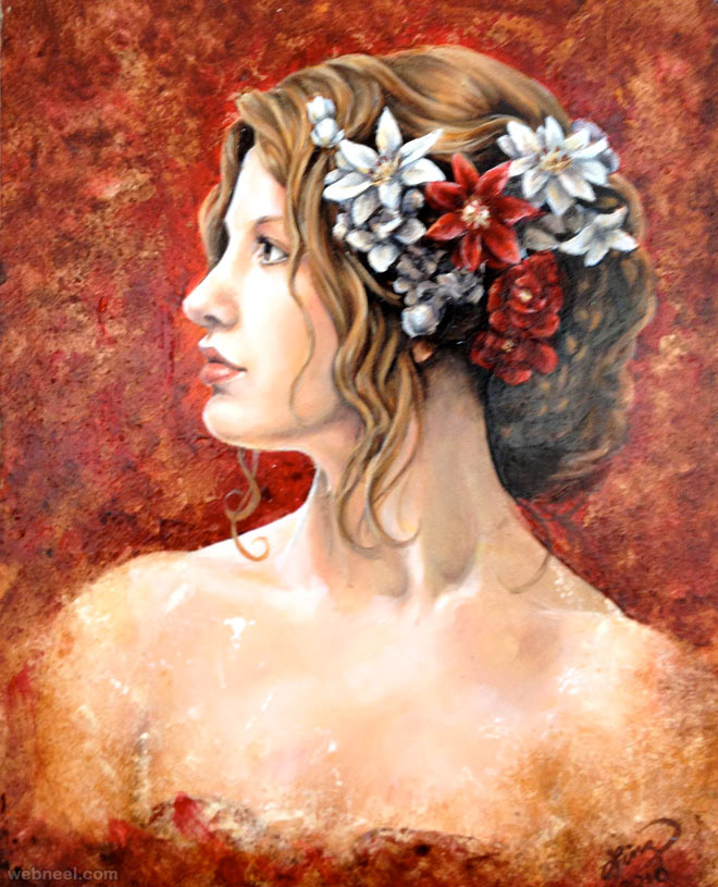 beautiful woman painting