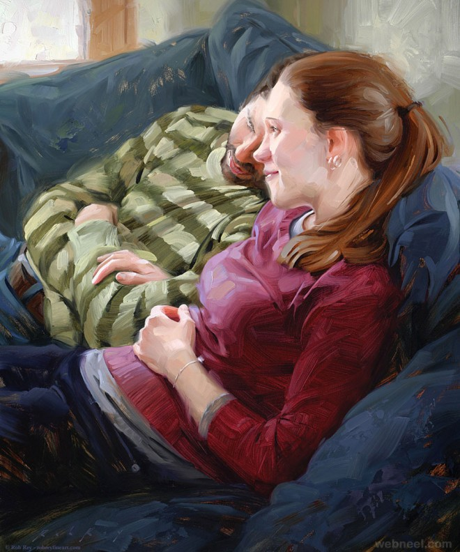 young couple oil painting