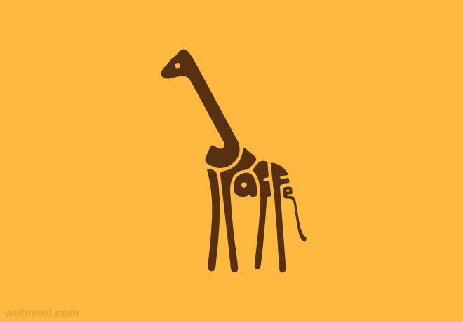 giraffe typography design
