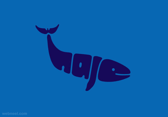 whale typography design