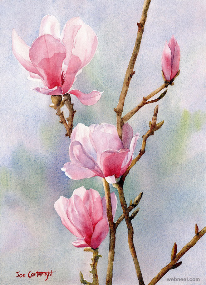 watercolor painting flower