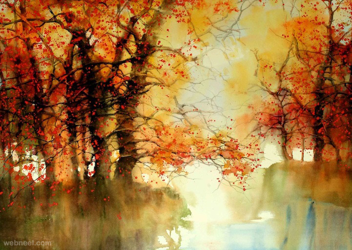 watercolor painting nature