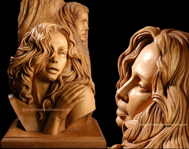 wood carving realistic face