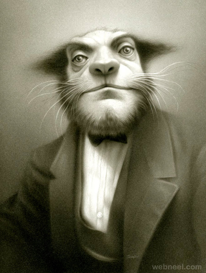 cat man painting