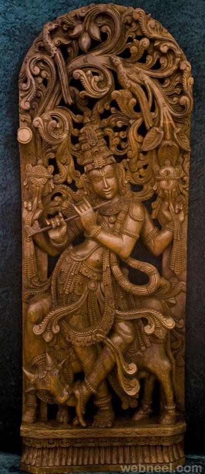 wood carving god krishna