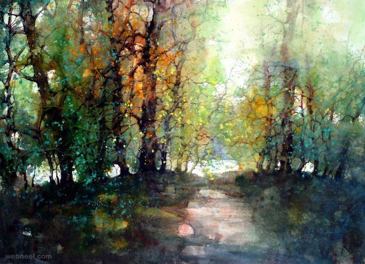 watercolor painting landscape