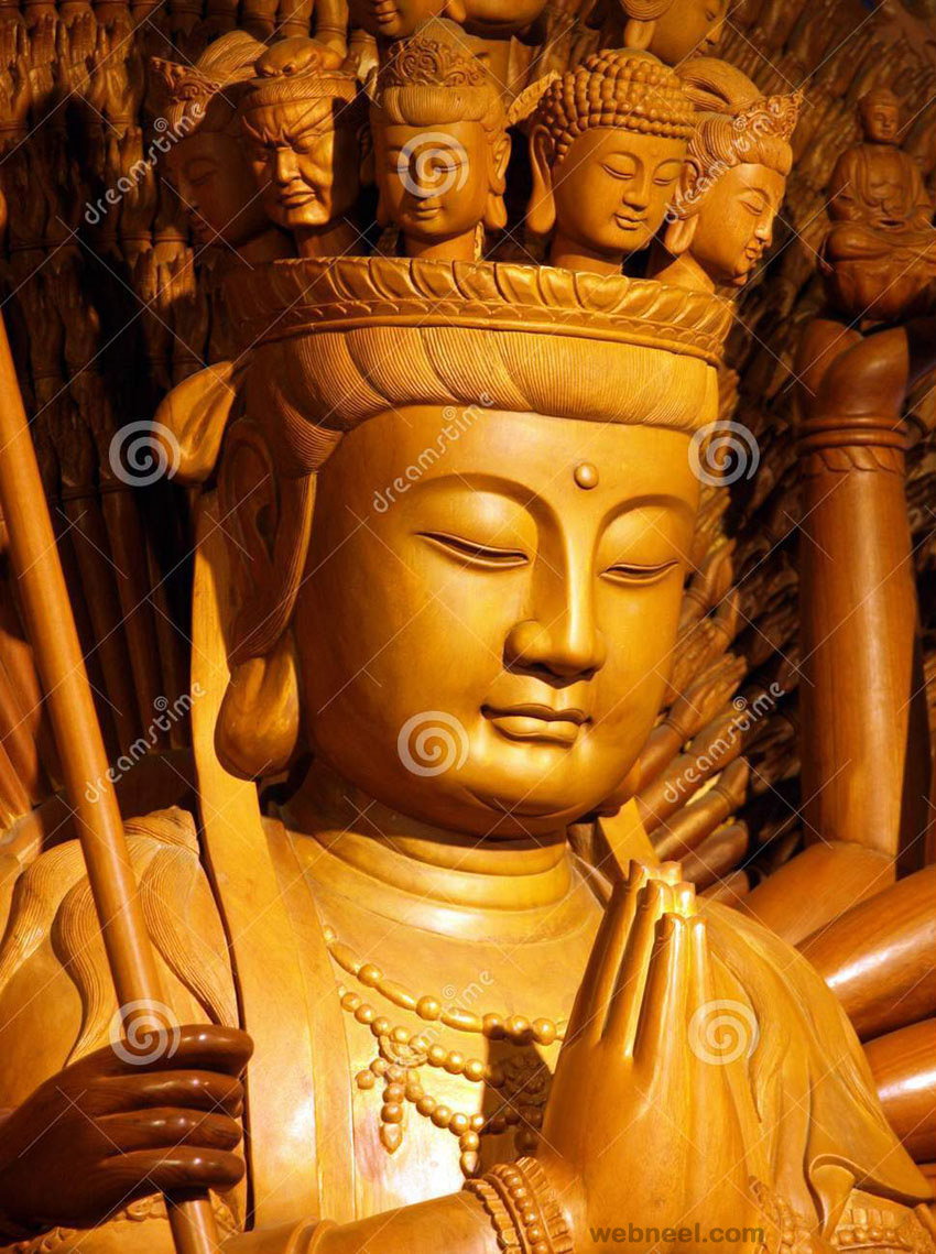 wood carving buddha sculpture