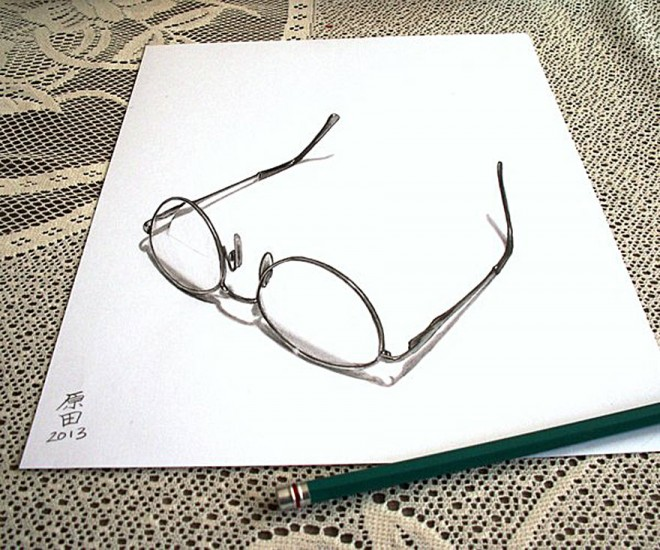 glass 3d pencil drawing