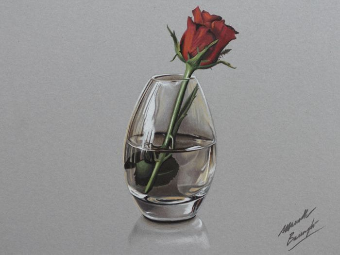 realistic rose flower drawing