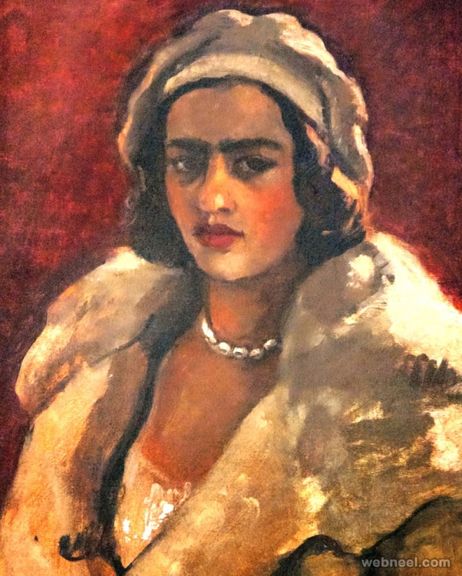 woman painting by amrita sher gil