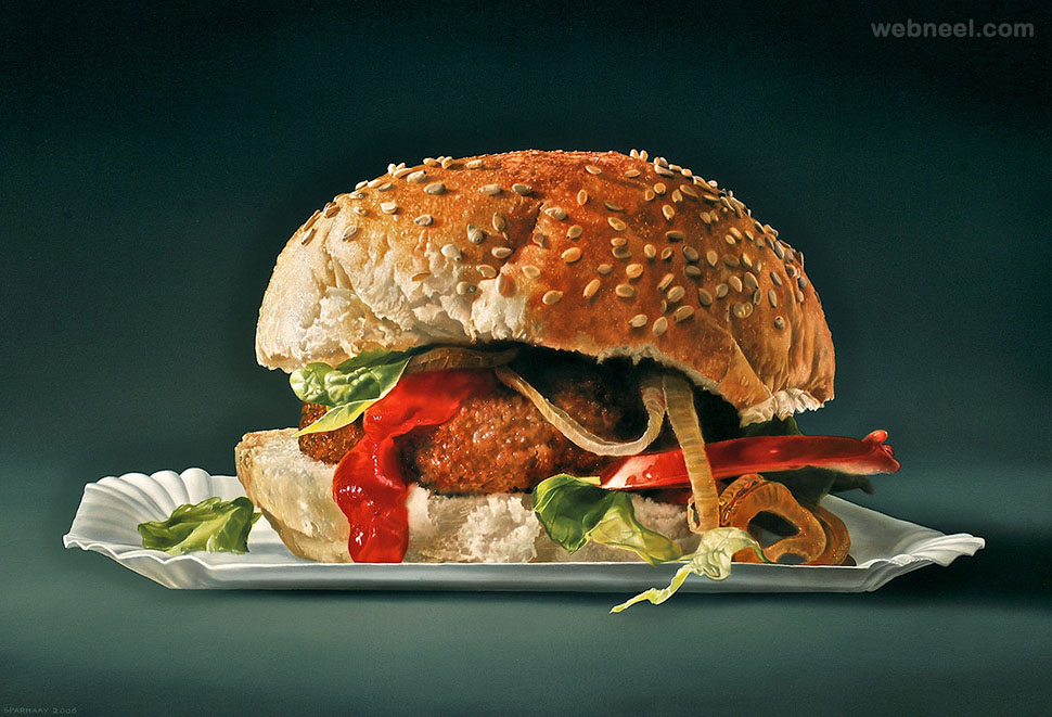 hamburger realistic oil paintings