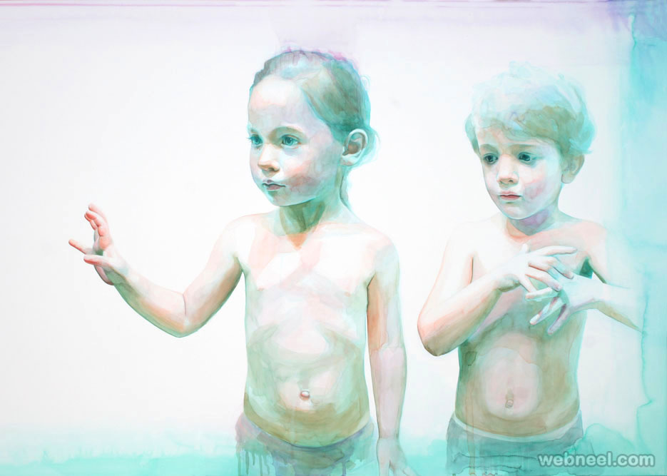 children watercolor painting