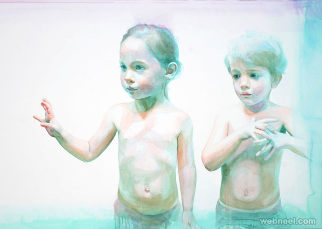 children watercolor painting by ali cavanaugh