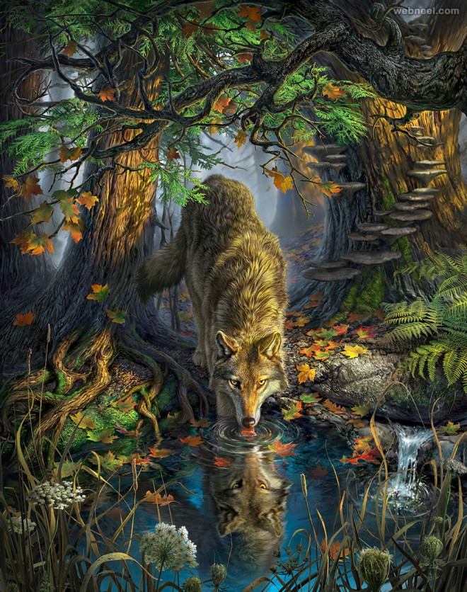 forest digital art painting by mark fredrickson