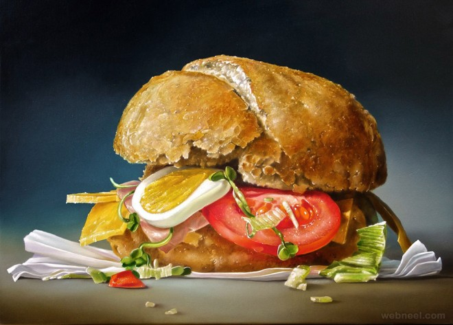 sandwich realistic oil paintings by tjalf sparnaay