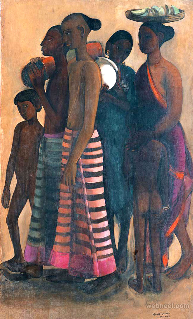 villagers market painting by amrita shergil