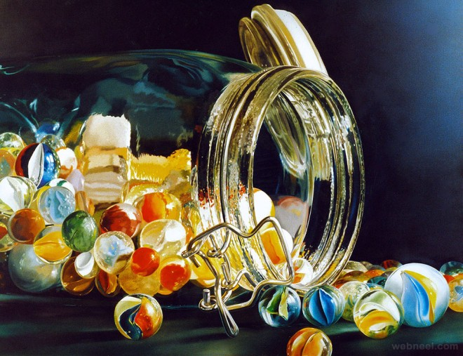 knikkers realistic oil paintings by tjalf sparnaay
