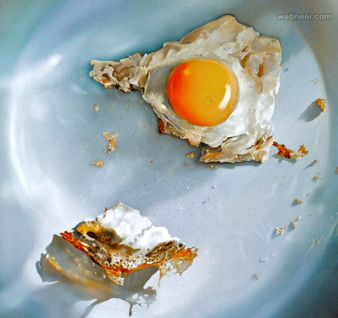 fried egg realistic oil paintings by tjalf sparnaay
