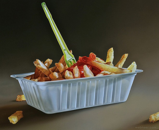 french fries realistic oil paintings by tjalf sparnaay