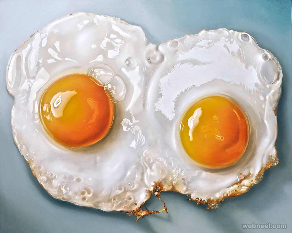 fried egg realistic oil paintings