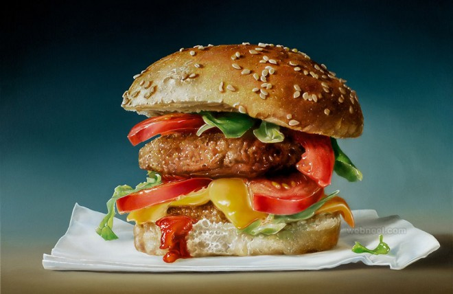 cheese burger realistic oil paintings by tjalf sparnaay