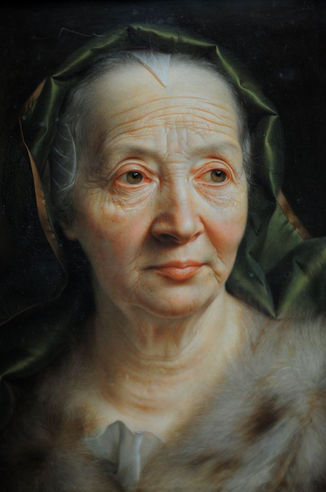 old woman portrait painting by christian seybold