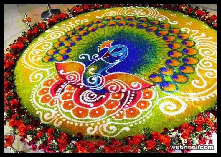 rangoli designs peacock green