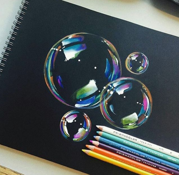 realistic 3d bubbles color pencil drawings by manny lucero