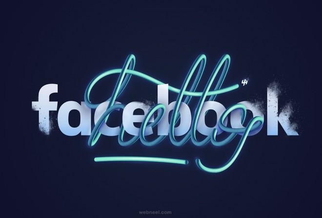 hello facebook typography design by lukas haen