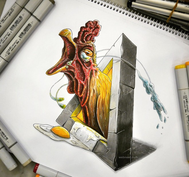 hen creative drawing by tino valentin hopic